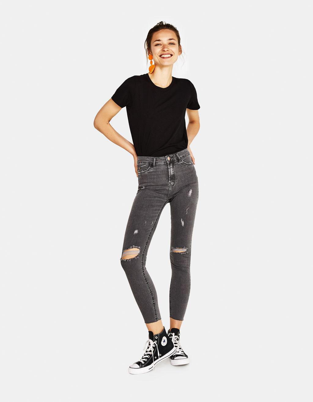 High waist broek met scheuren
