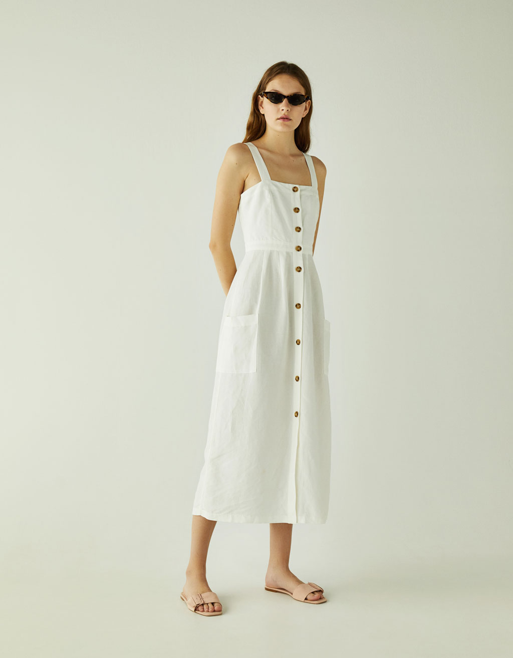 Linen midi dress with pockets