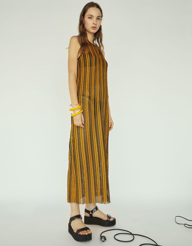 Dlouhé pruhované šaty