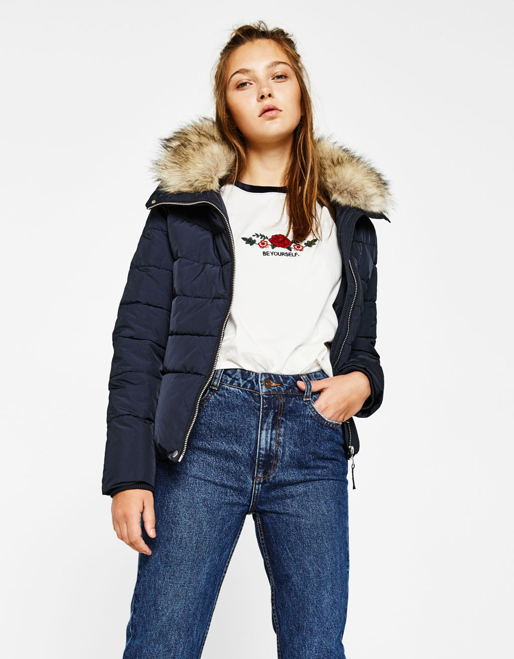 Puffer jacket with funnel collar