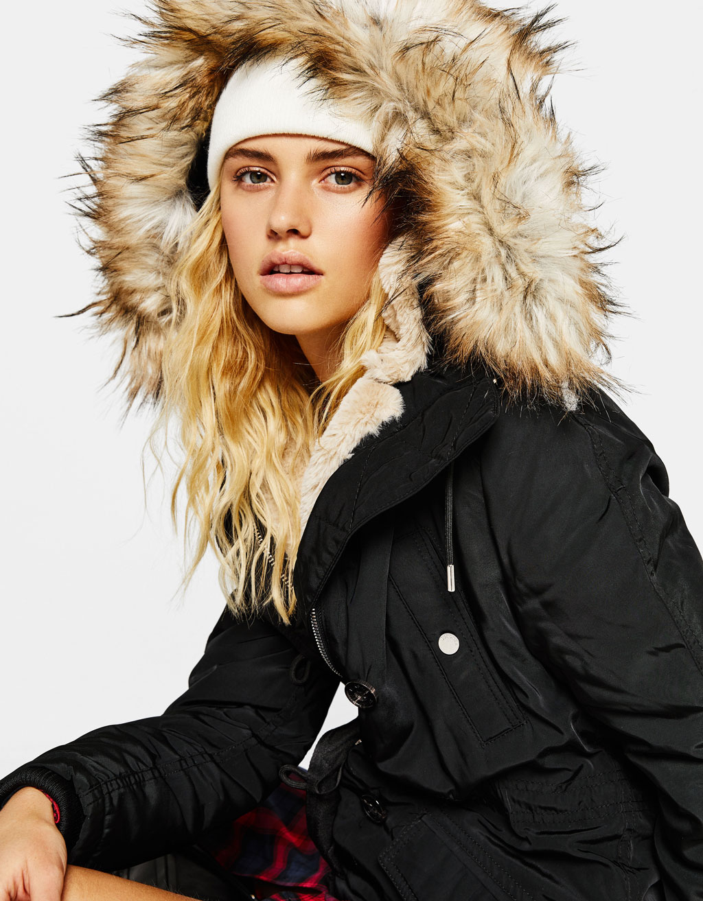 Parka with fur-lined hood