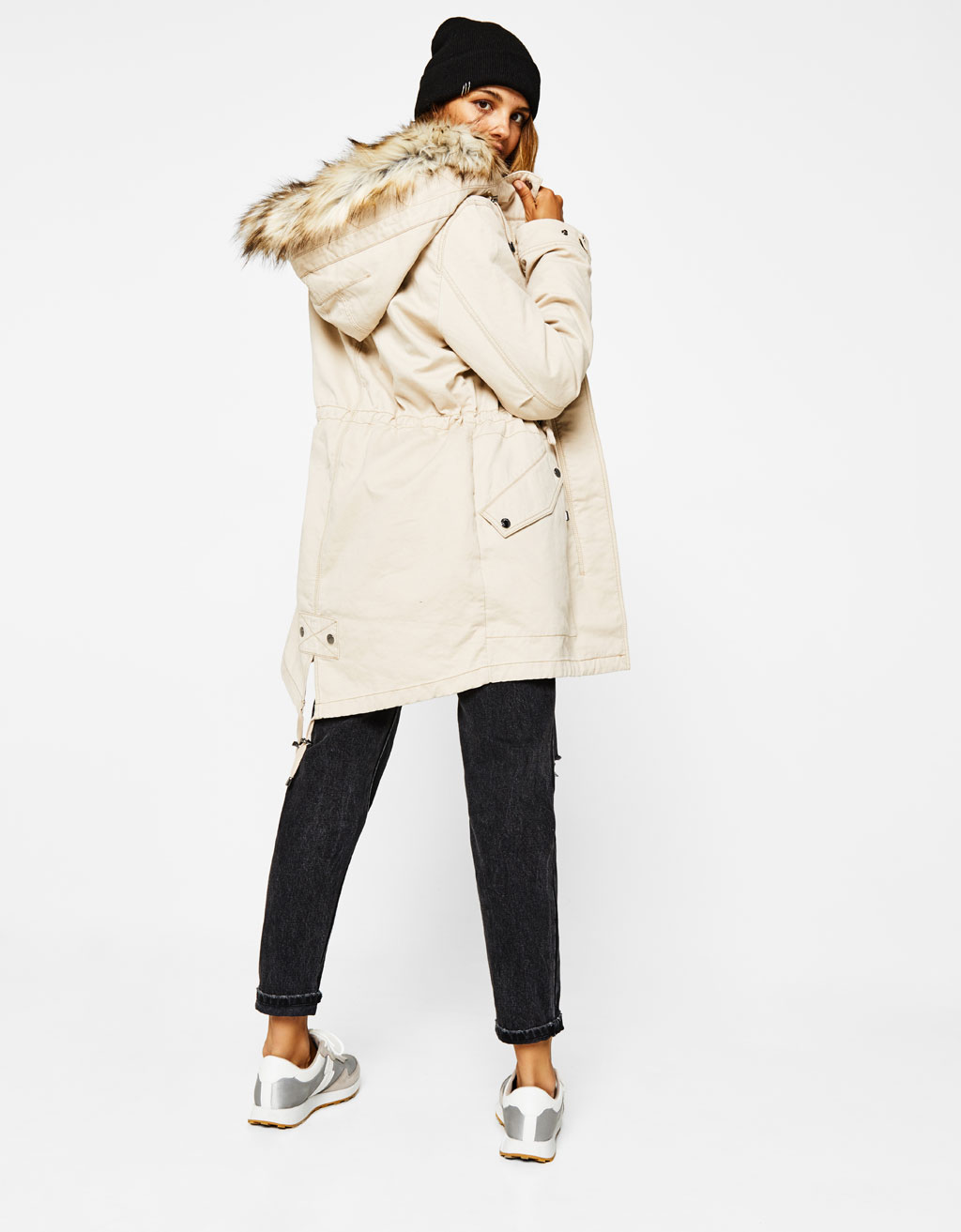 Parka with removable faux fur lining