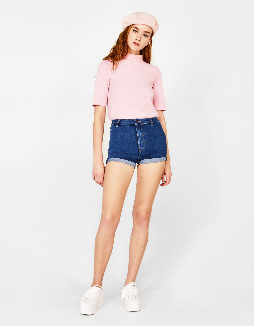 High-rise rolled-up denim shorts