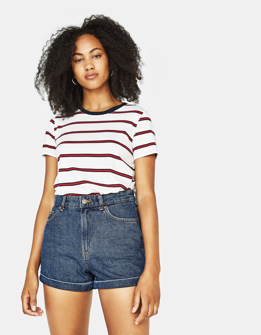 High-rise denim shorts with turned-up hems