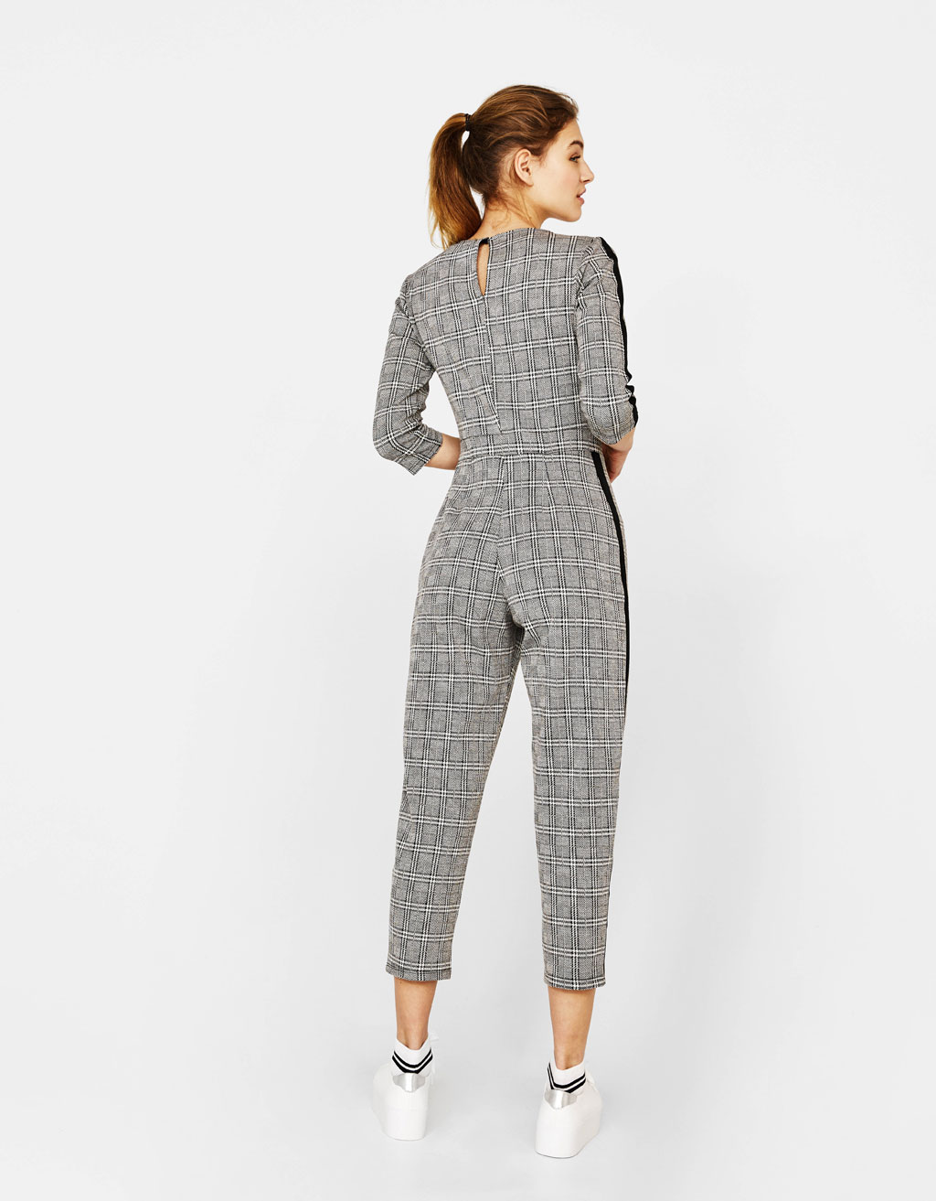 1ea8a84431f4 Long checked jumpsuit with side stripes Long checked jumpsuit with side  stripes ...