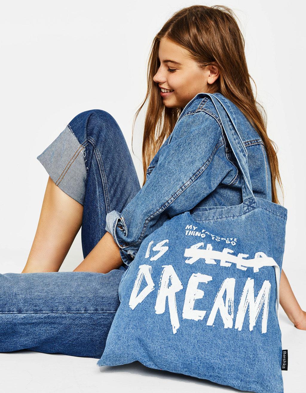 Denim tote bag with slogan
