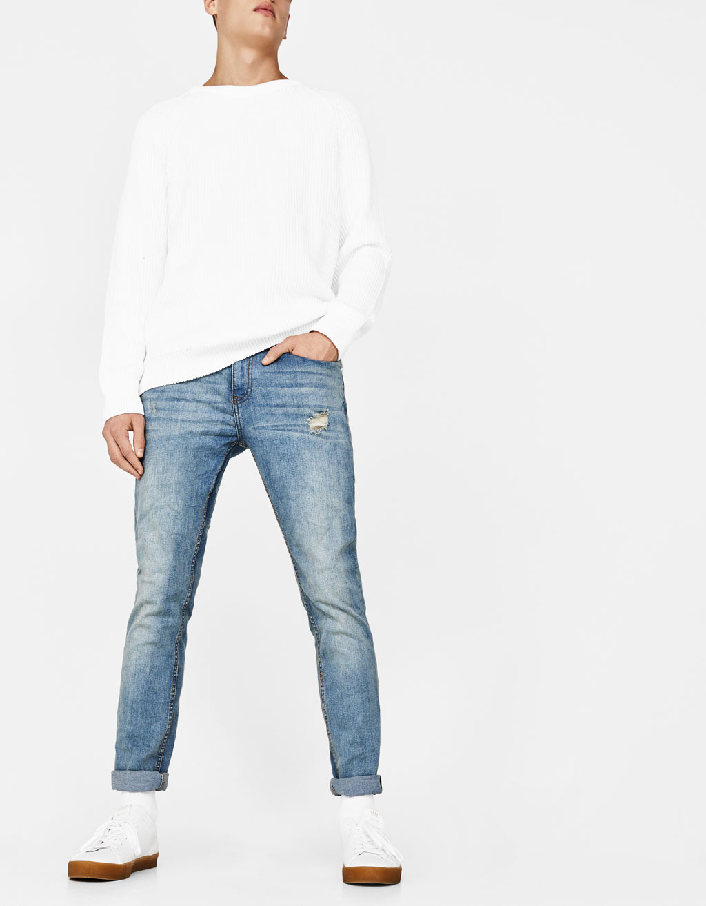 Skinny-Fit-Jeans im Washed-Look