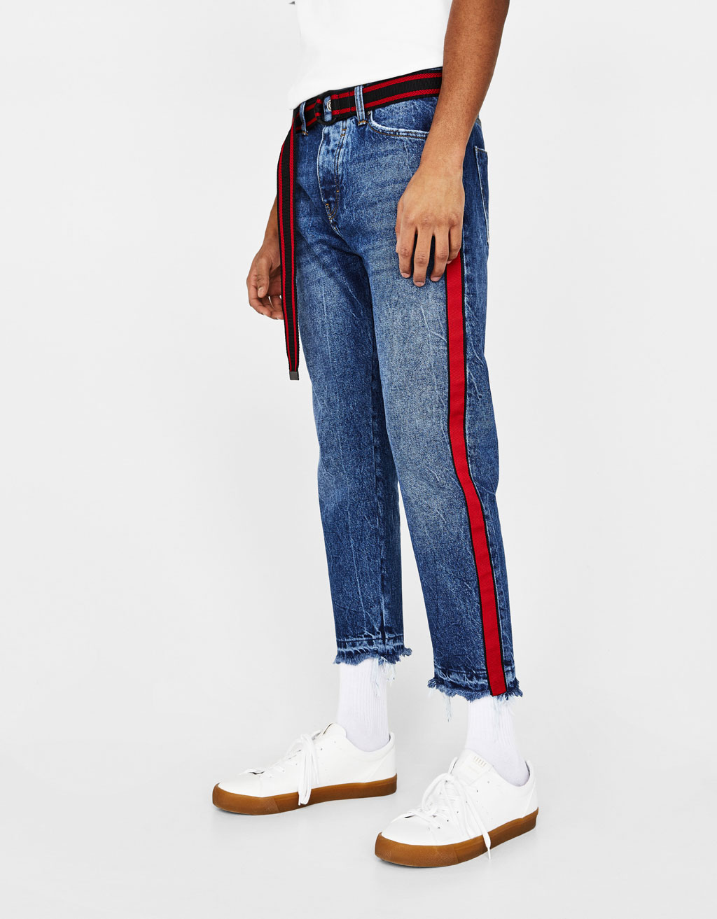 Cropped Slim Fit jeans with side stripes