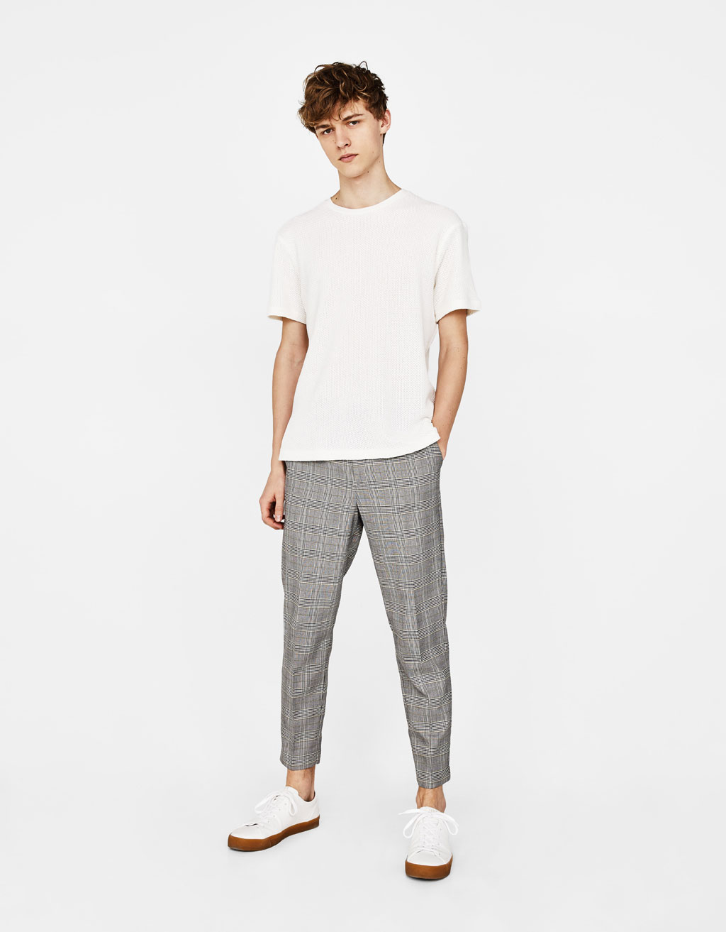 Slim flit cropped checked trousers