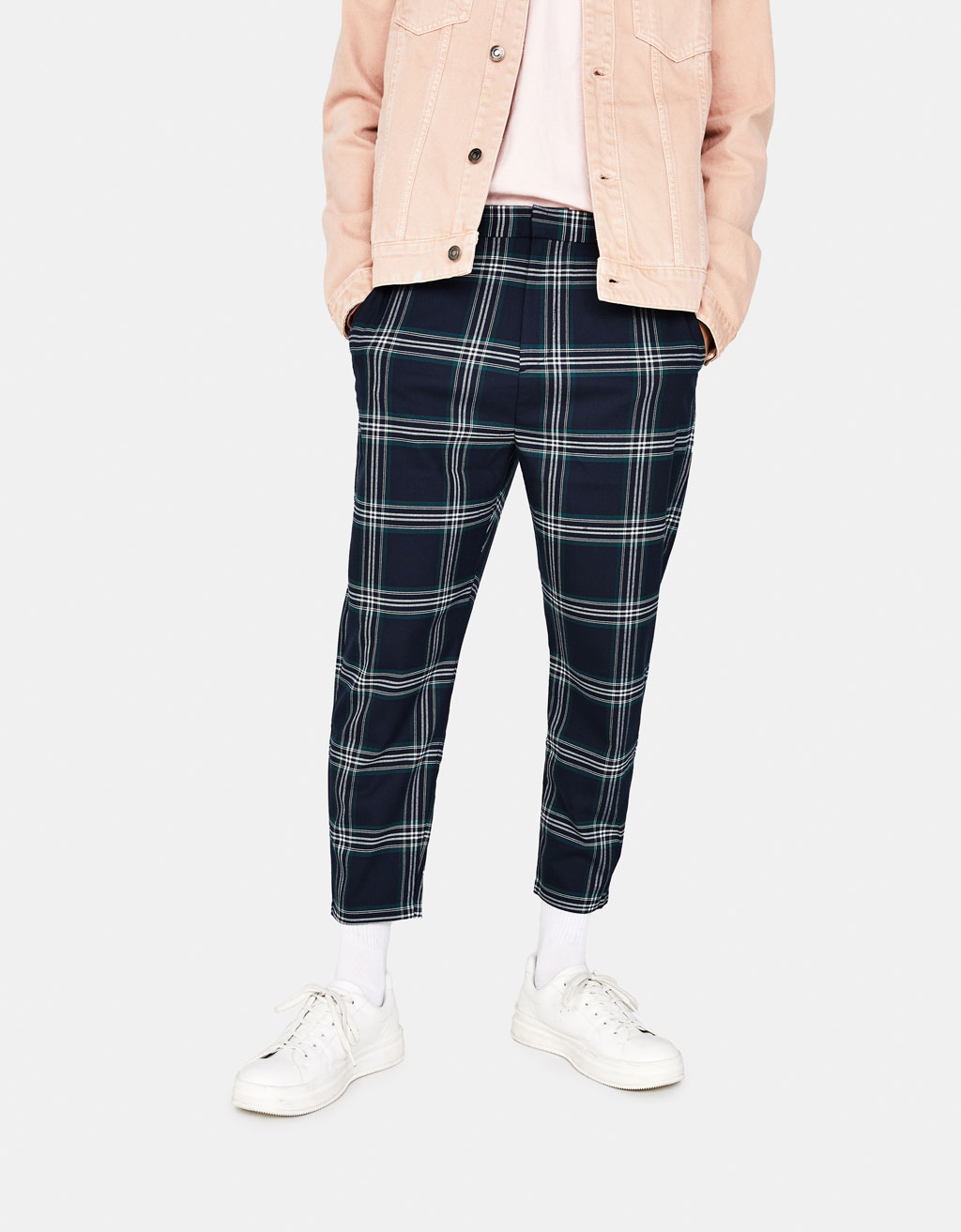 Loose Carrot Fit checked trousers