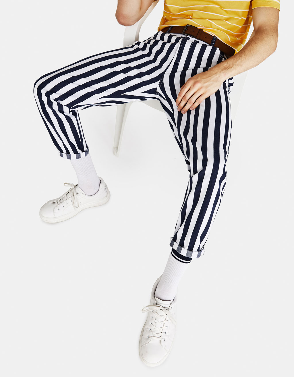 Carrot Fit striped trousers with 5 pockets