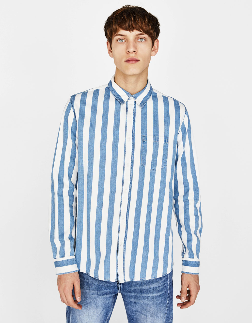 Striped denim shirt