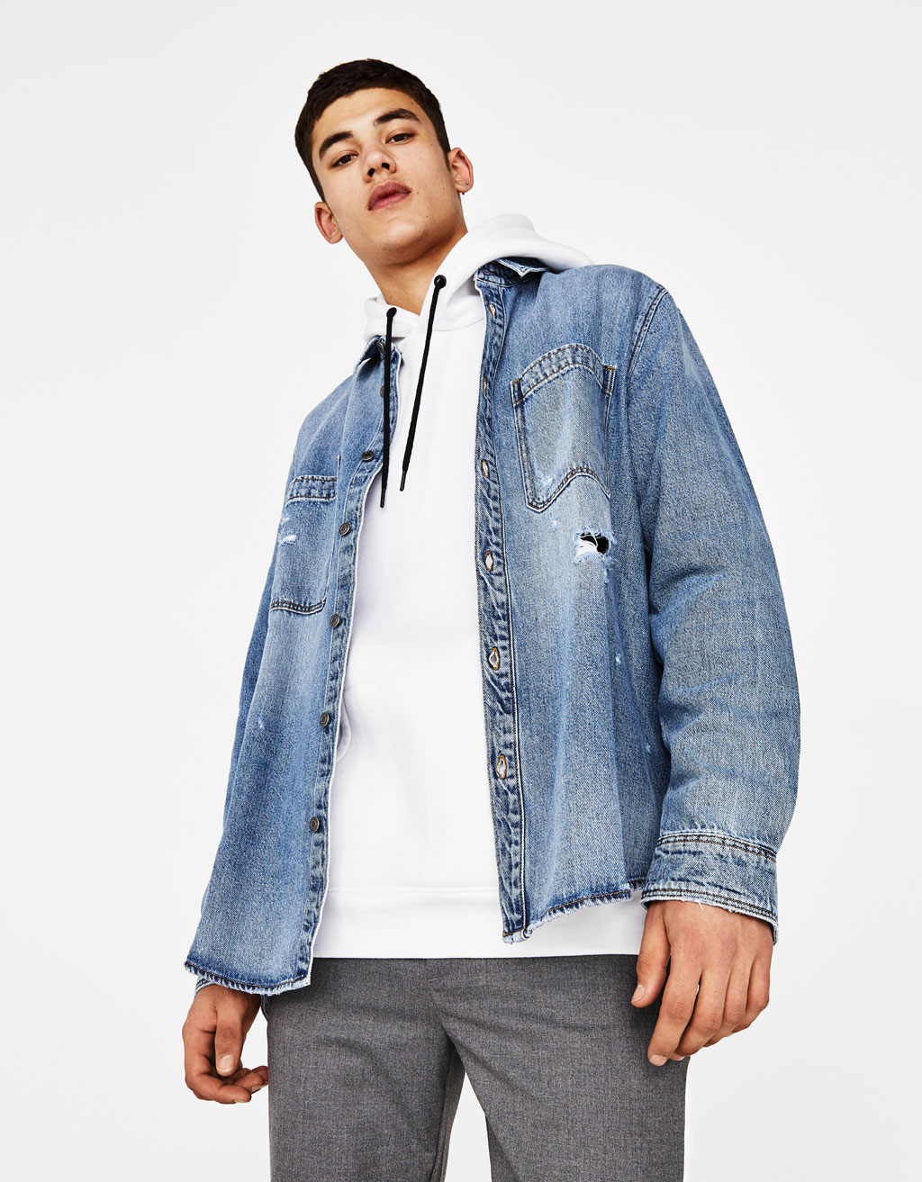 Denim overshirt met scheuren