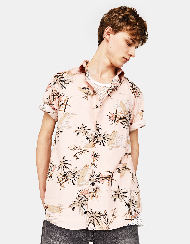 フラワー柄シャツ