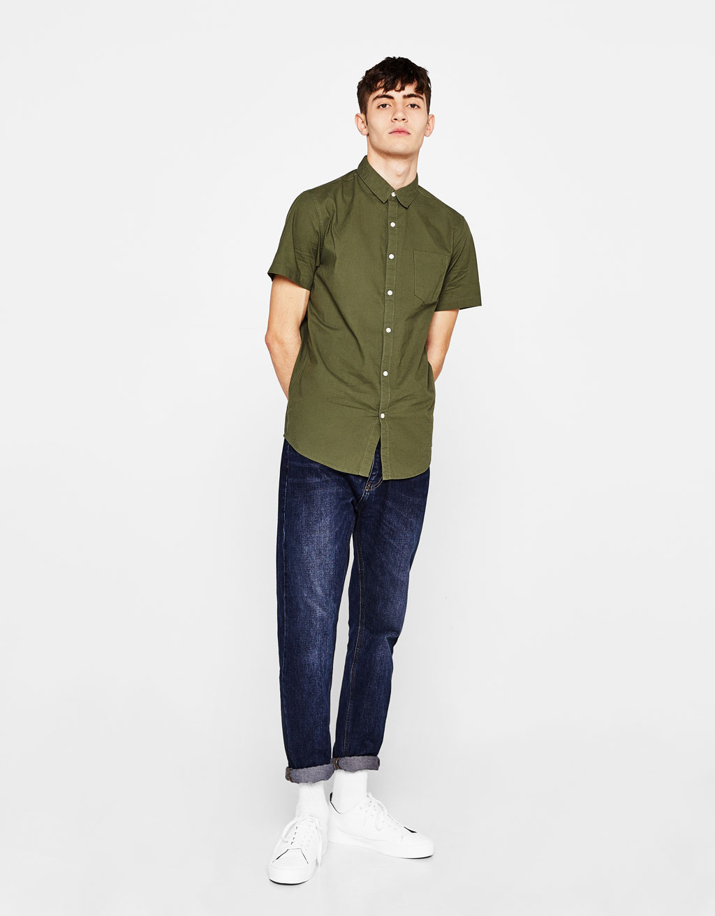 Short-sleeve cotton shirt