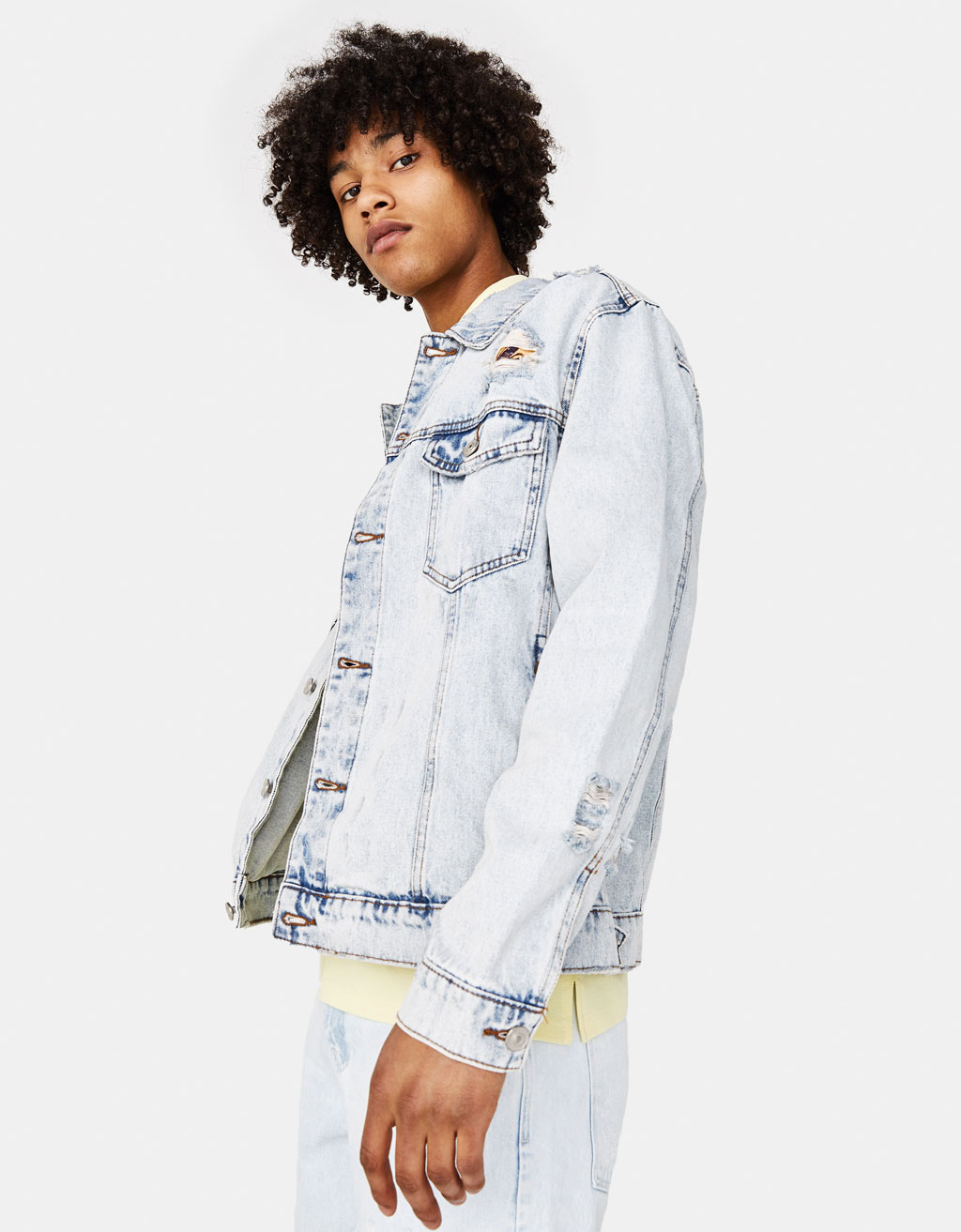 Boxy fit denim jacket with print