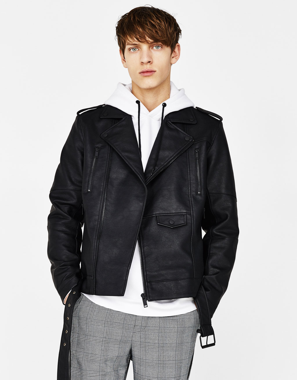 Leather-effect biker jacket