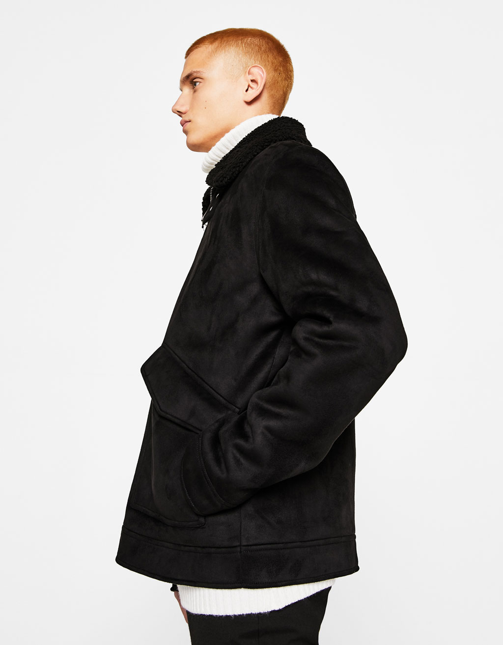 Jacket with faux shearling collar