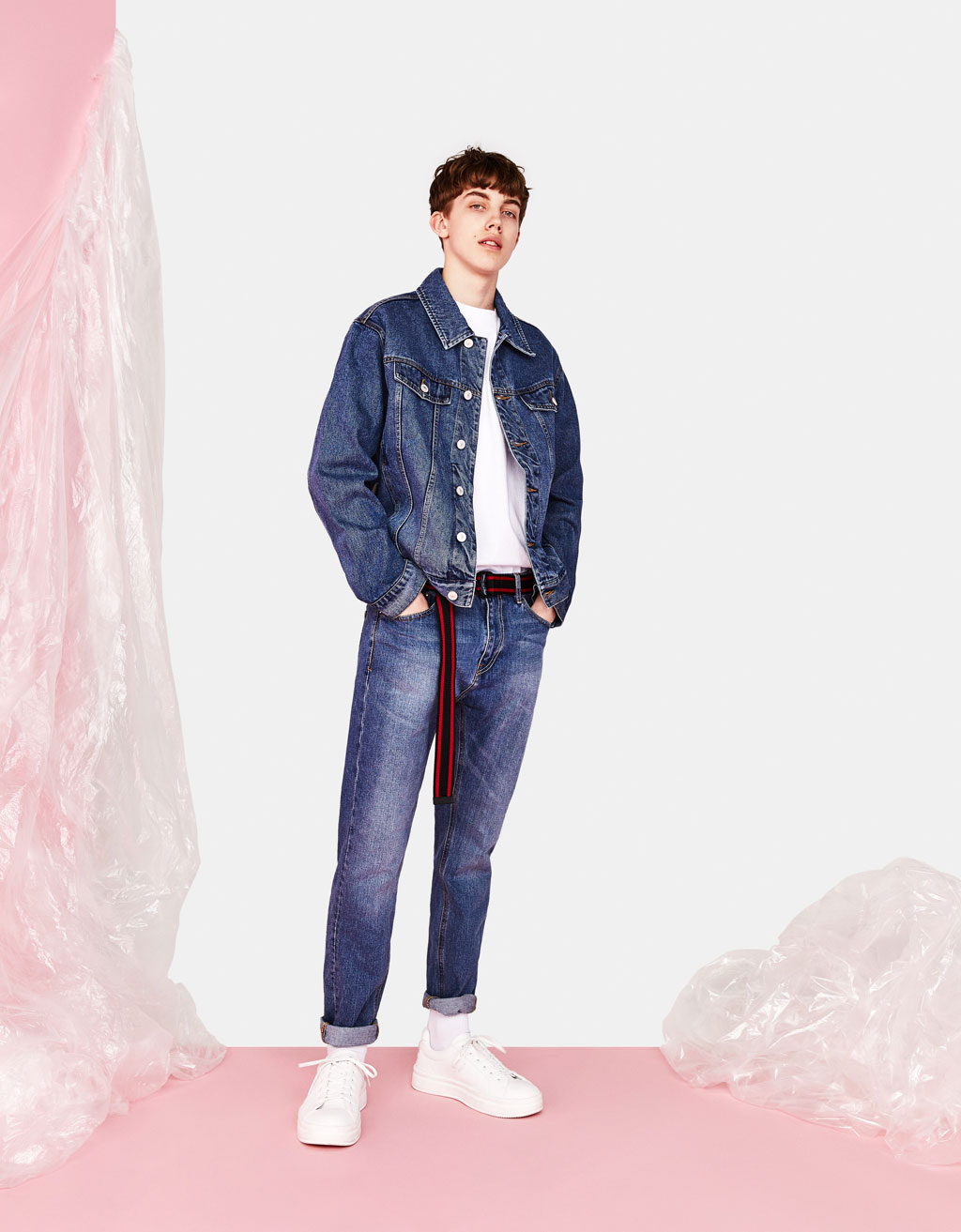 Oversized denim jacket with slogan