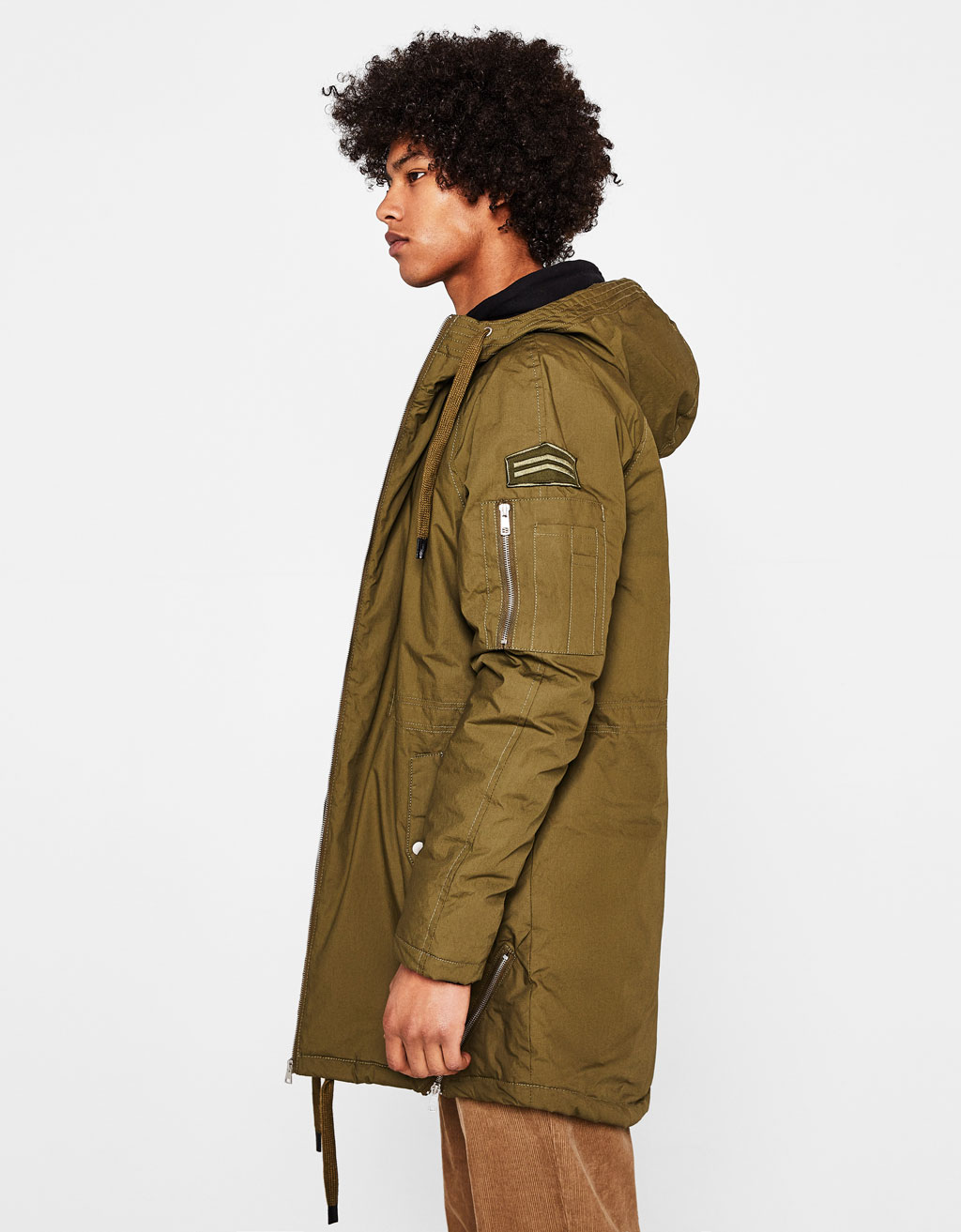 Long parka with zips