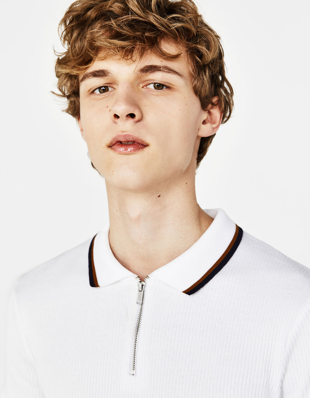 Zip-up polo shirt