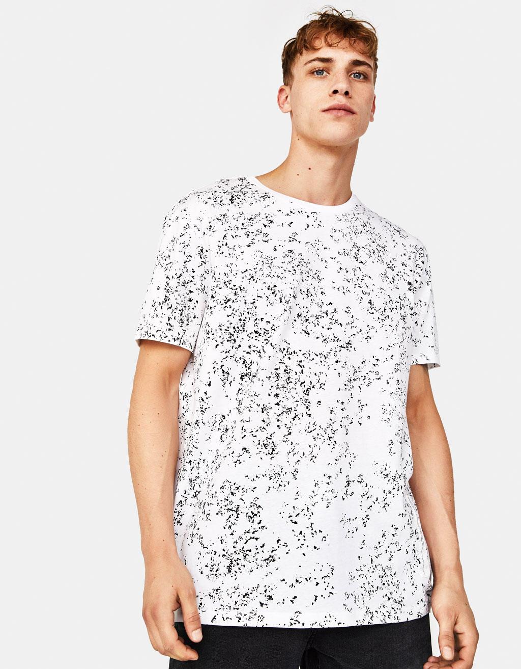 Textured T-shirt with print