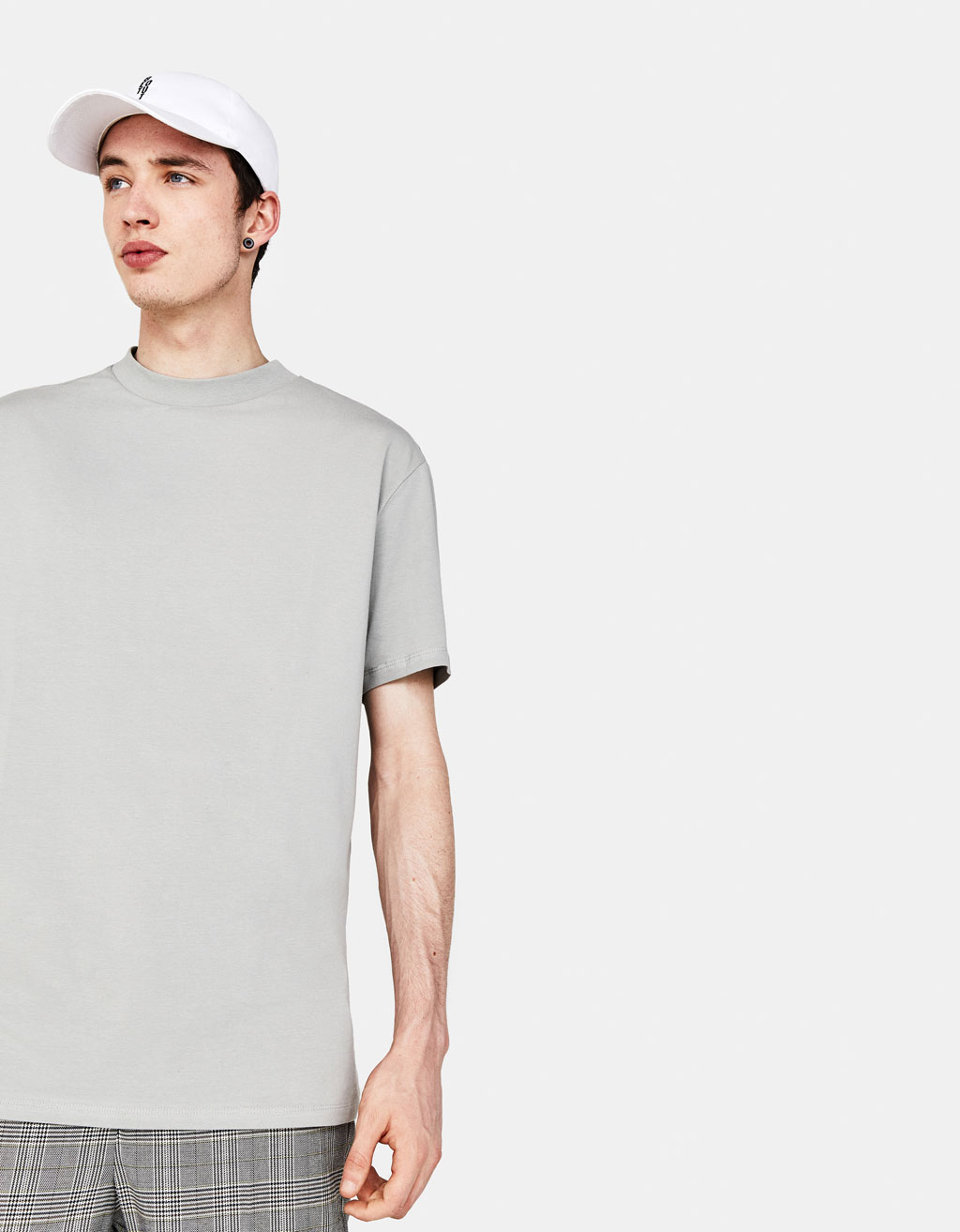 High neck cotton T-shirt