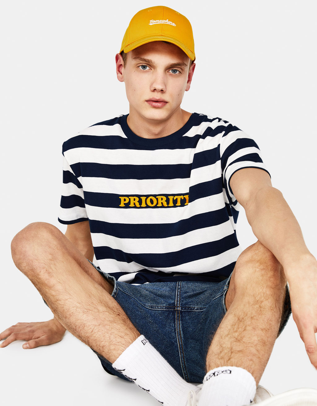 T-shirt with woven stripes