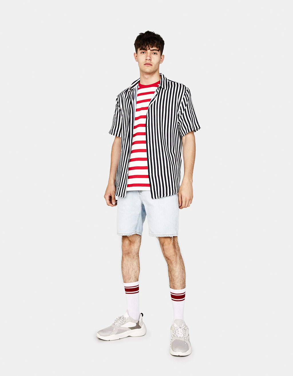 Striped plush jersey T-shirt