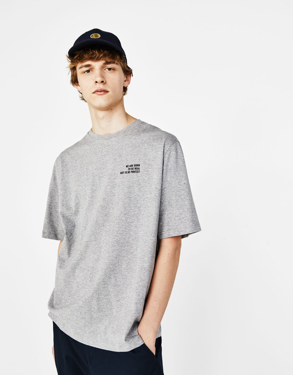 Boxy fit T-shirt with slogan