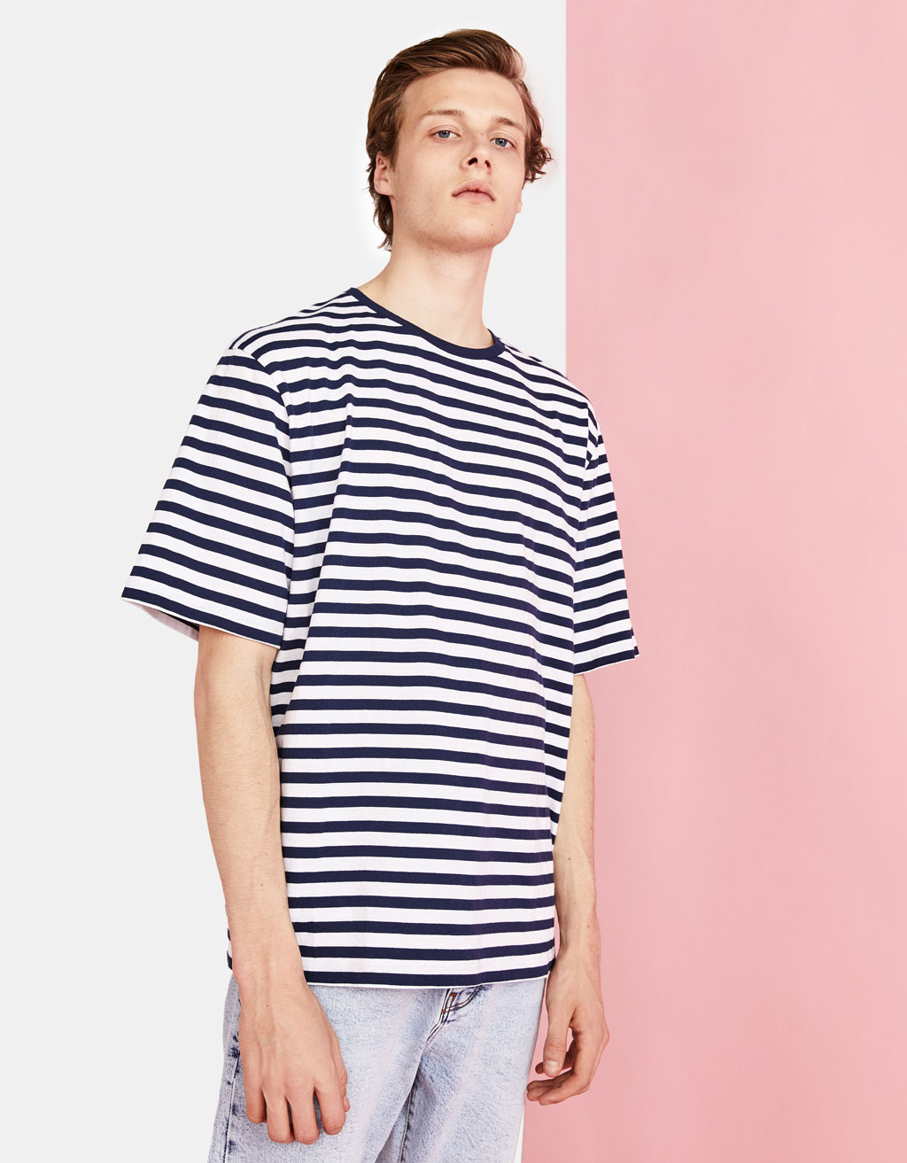 Oversize stribet T-shirt