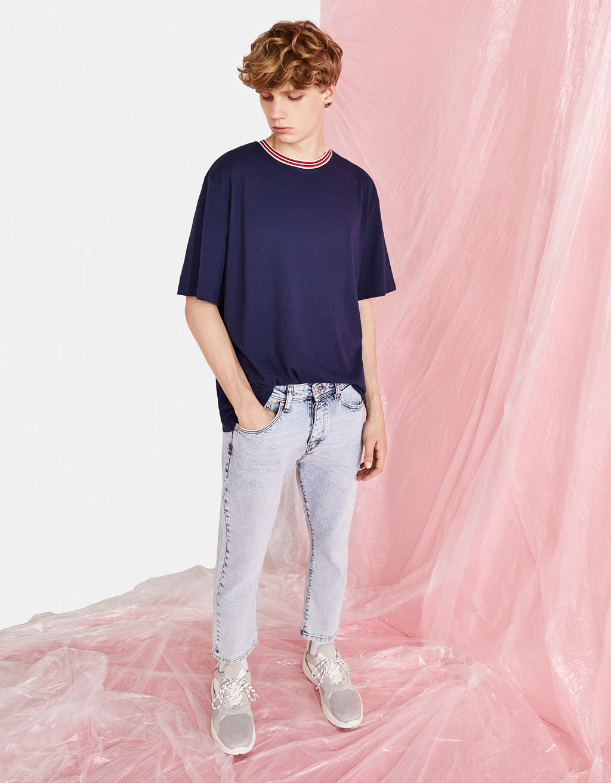 ストライプディテール入りリブ編みTシャツ