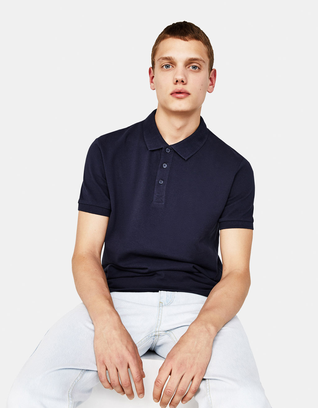 Solid-coloured polo shirt