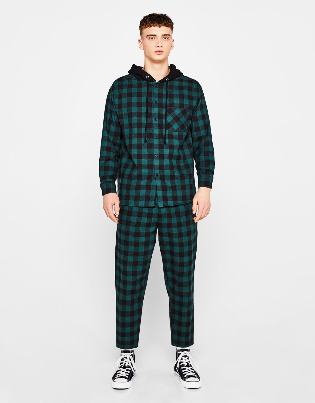 Checked flannel trousers
