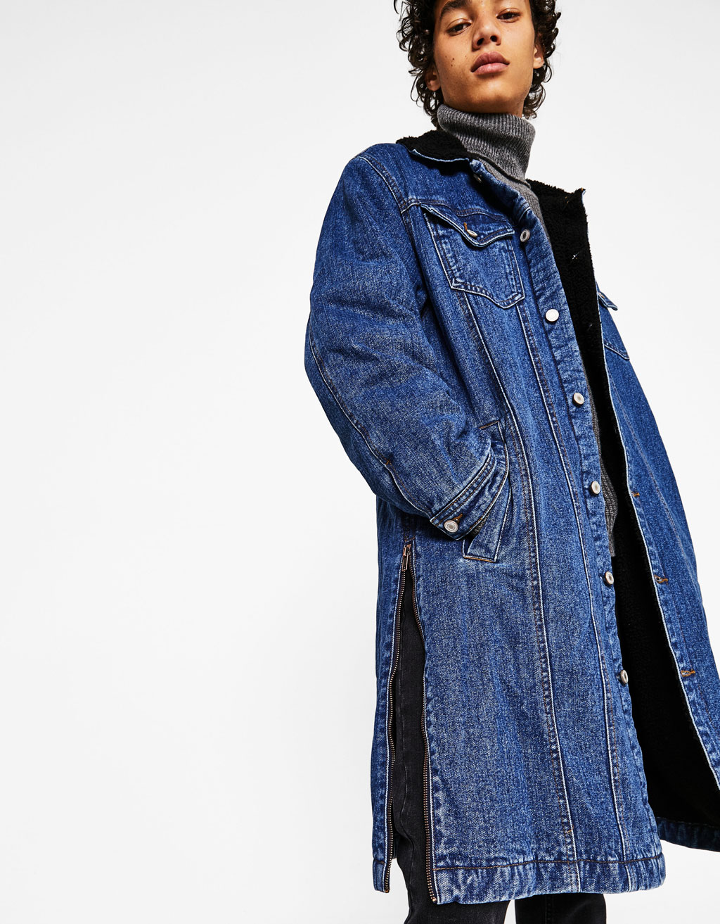 Denim parka with fleece lining