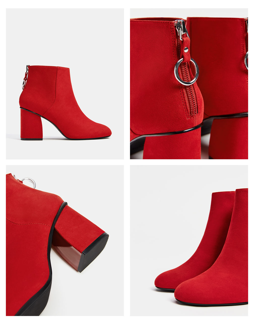 High heel ankle boots with ring detail