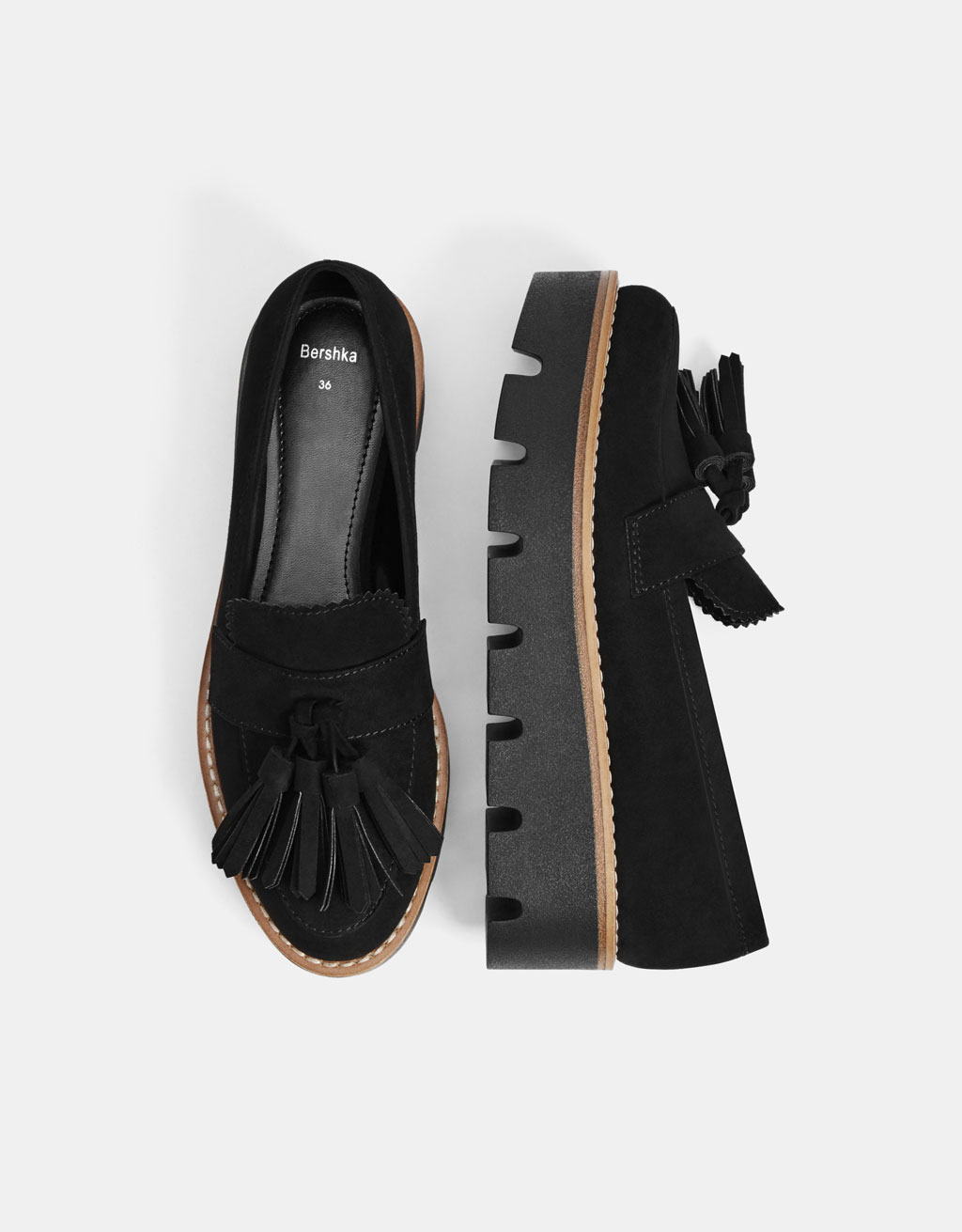Platform loafers with tassels