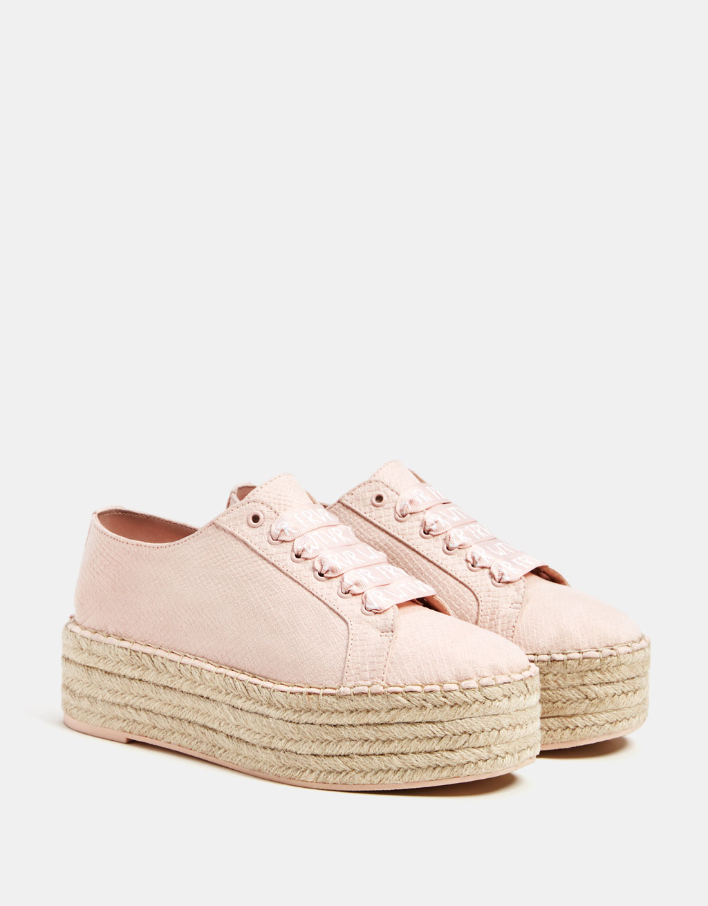 Embossed sneakers with jute platforms