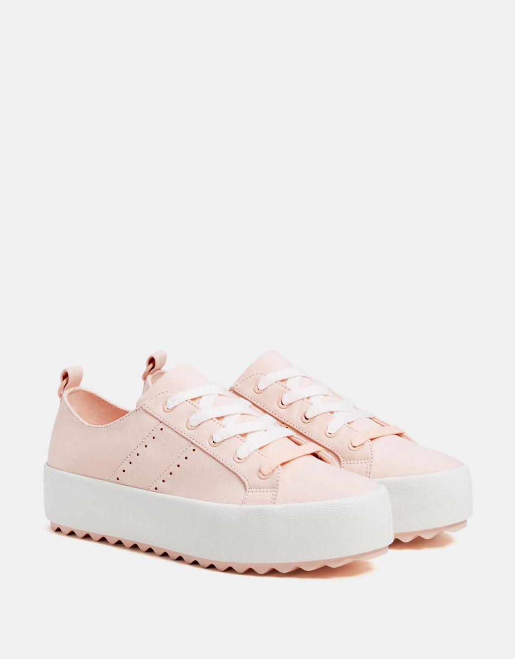 Розови маратонки с платформа