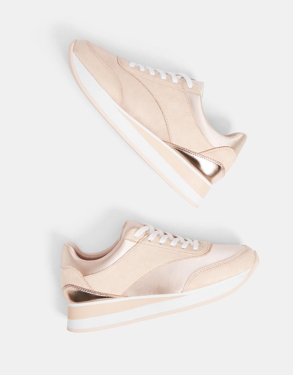 Combined platform sneakers