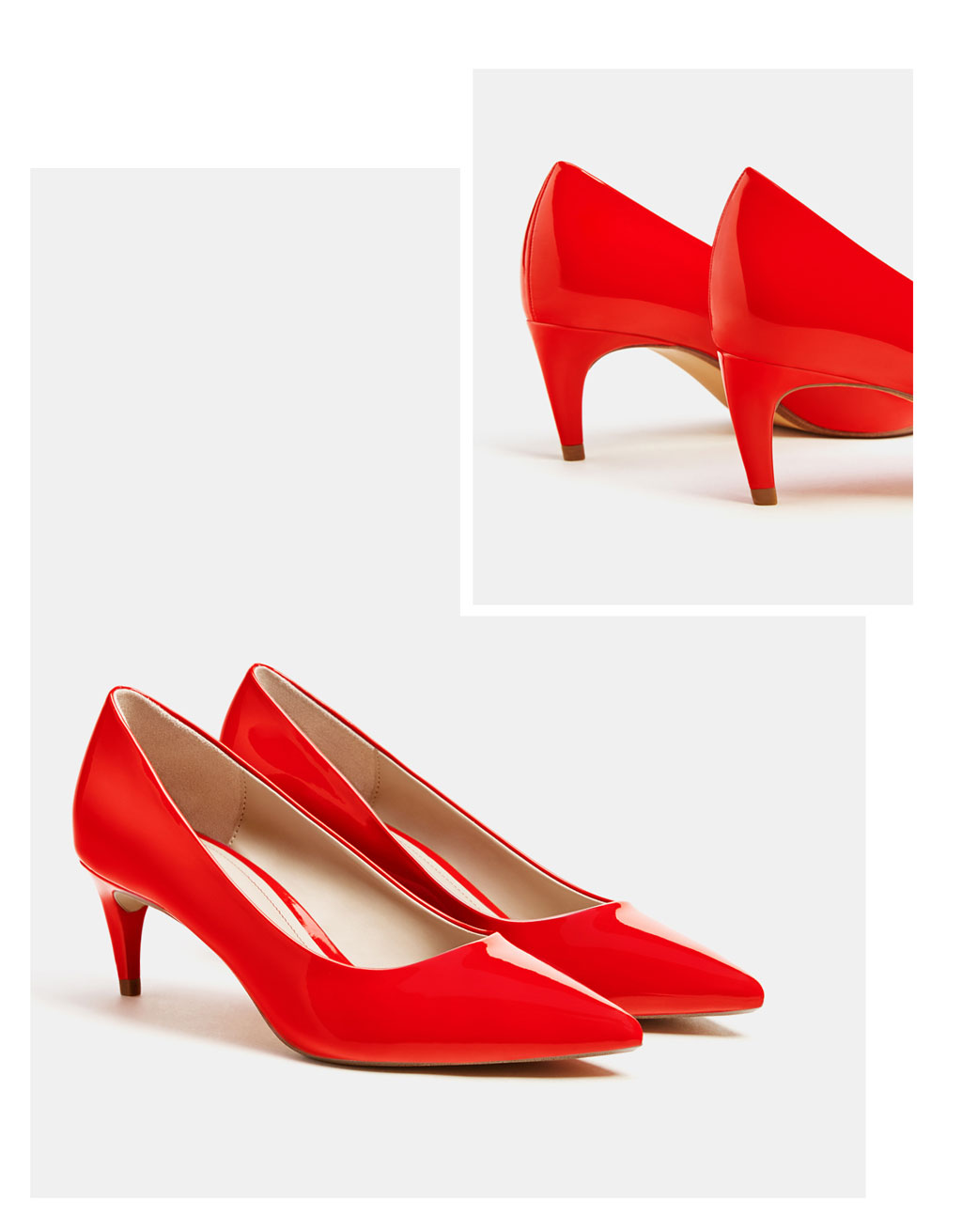 Red faux patent leather mid-heel shoes