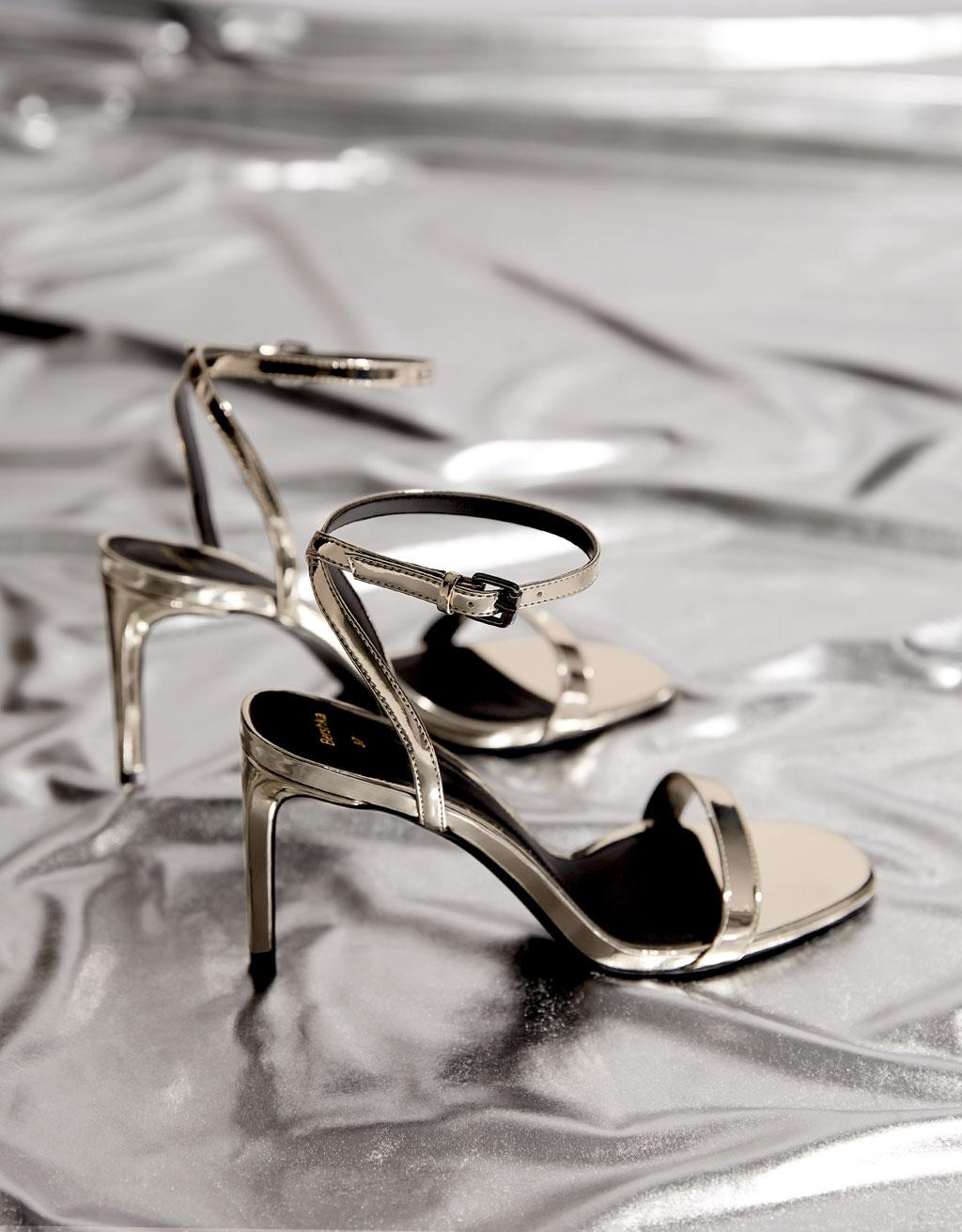Sandales talon aiguille métallisées