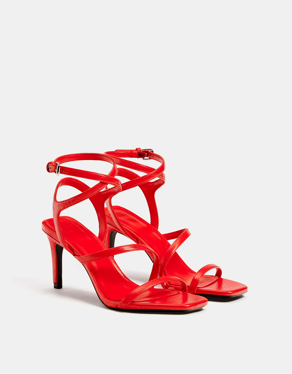 High-heeled sandal with straps