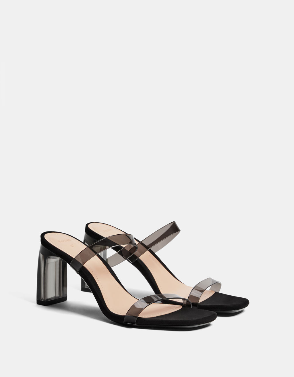 Vinyl high heel sandals