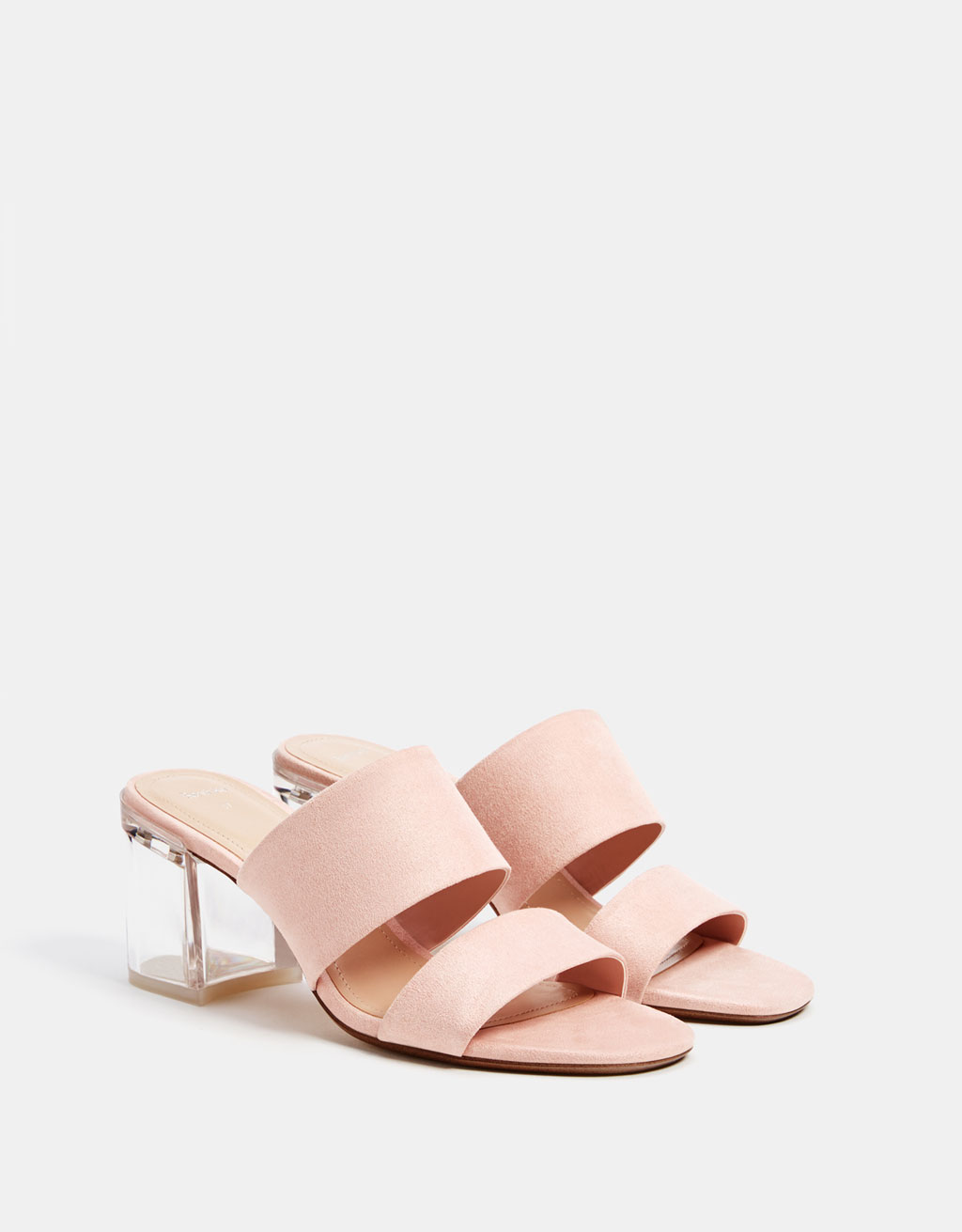 Sandals with methacrylate heels