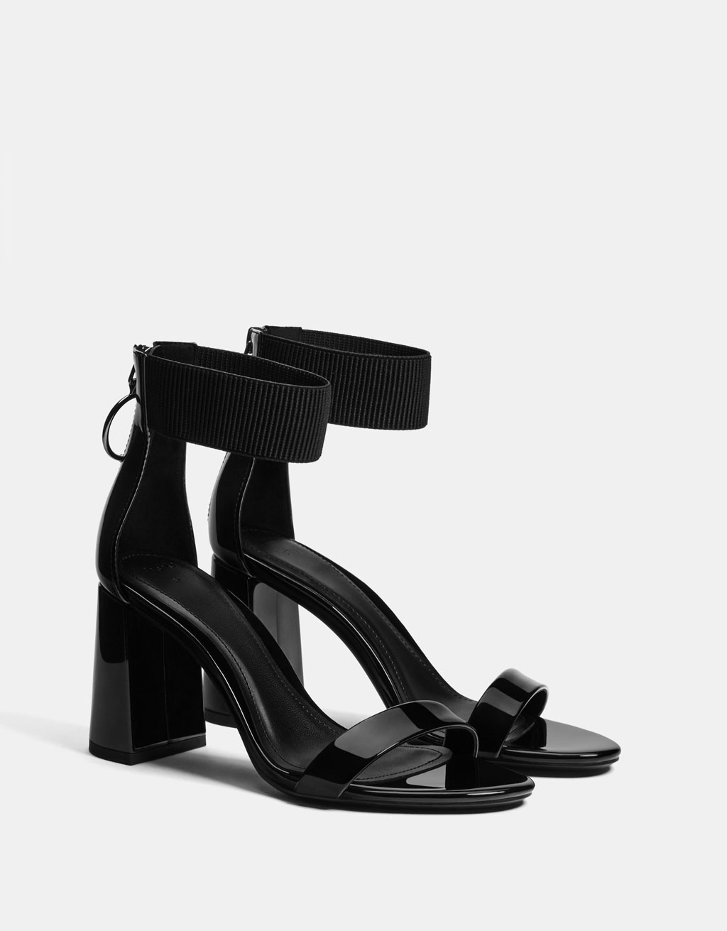 Faux patent leather high-heel sandals with elastic ankle straps