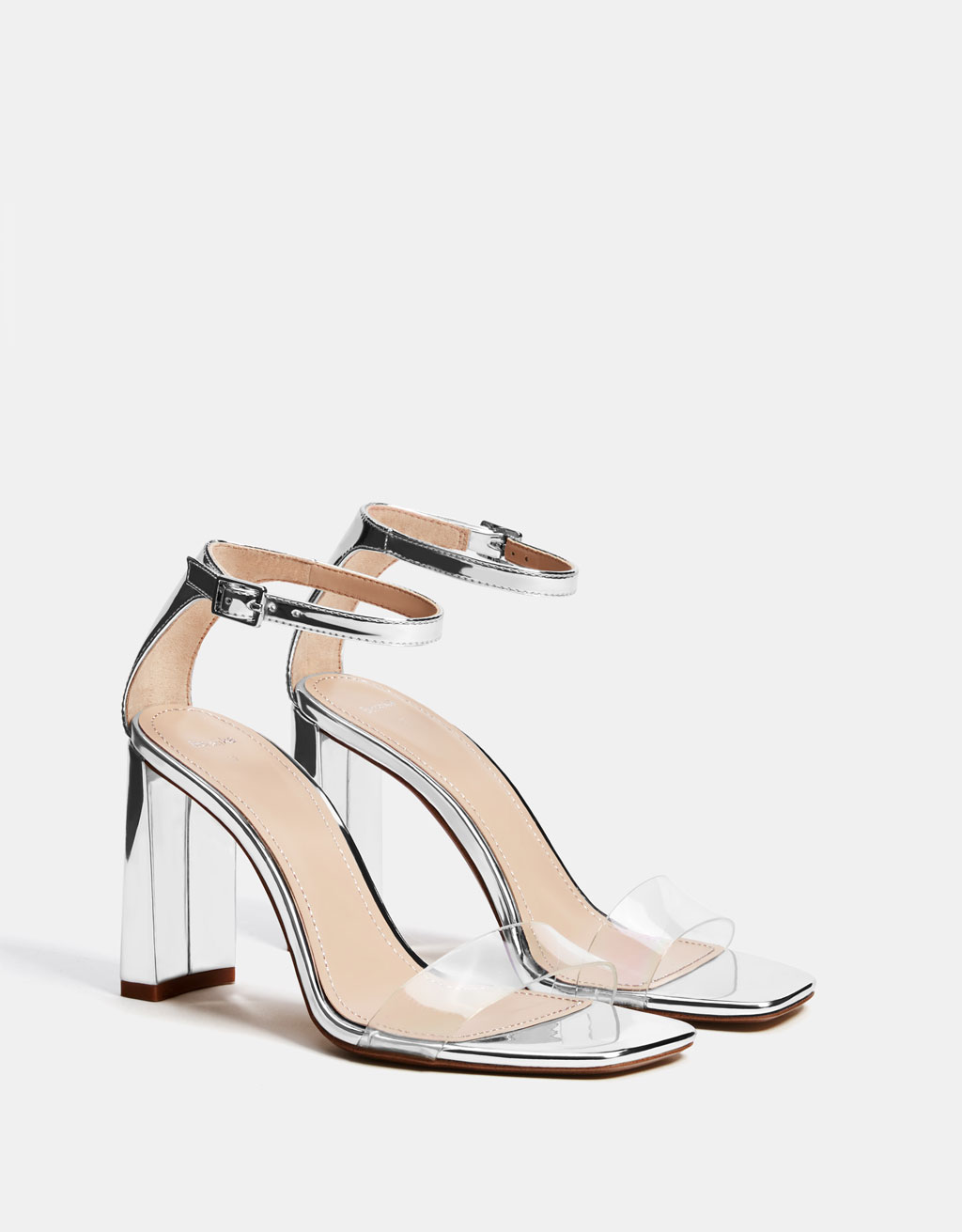 Metallic high-heel sandals with vinyl strap