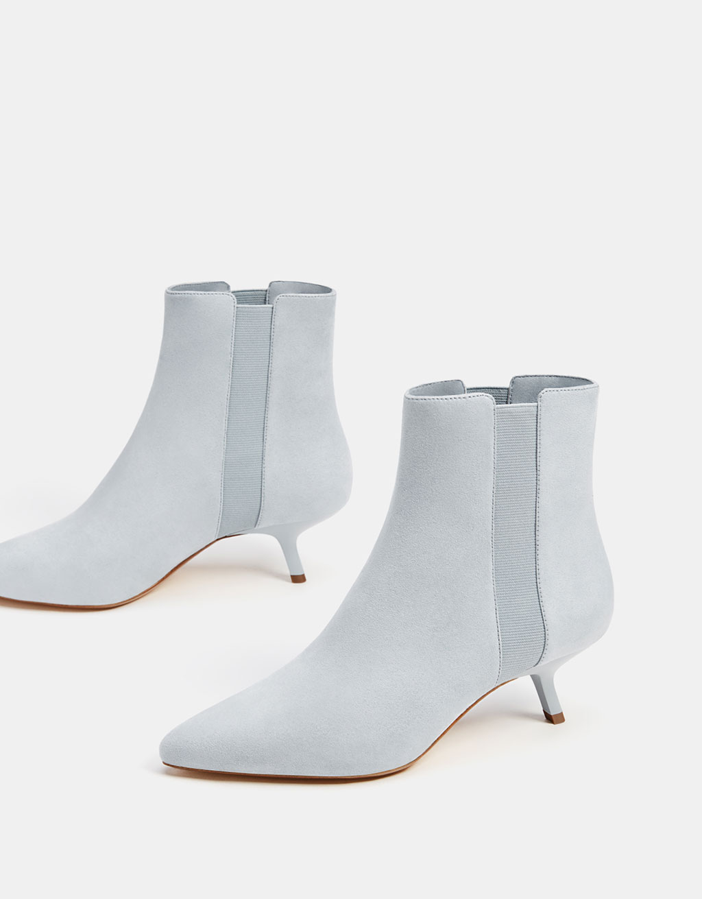 Stretch kitten-heel ankle boots
