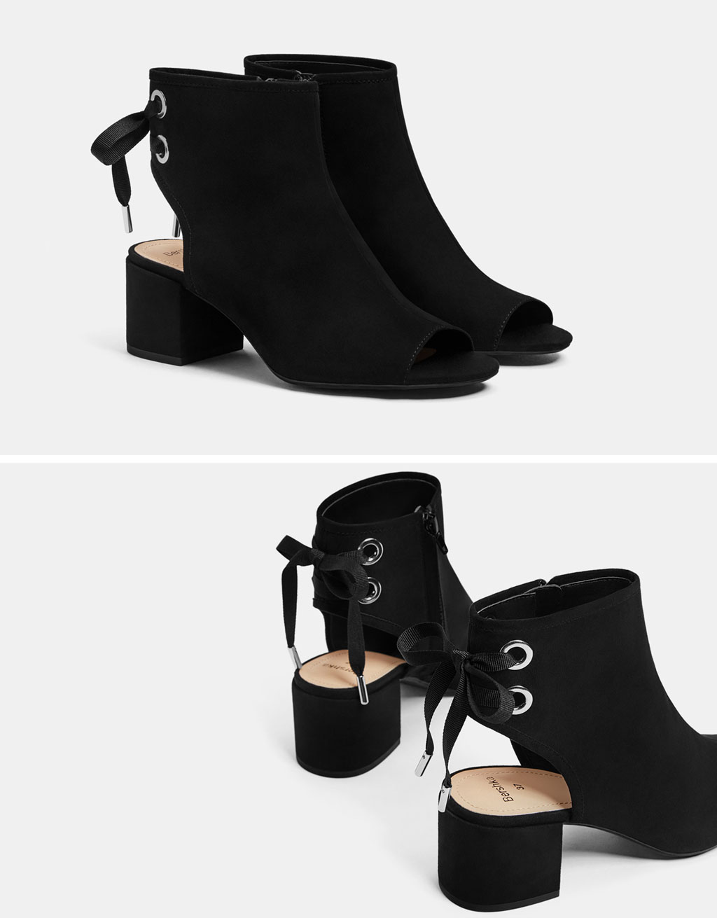 Peep-toe ankle boots with bow