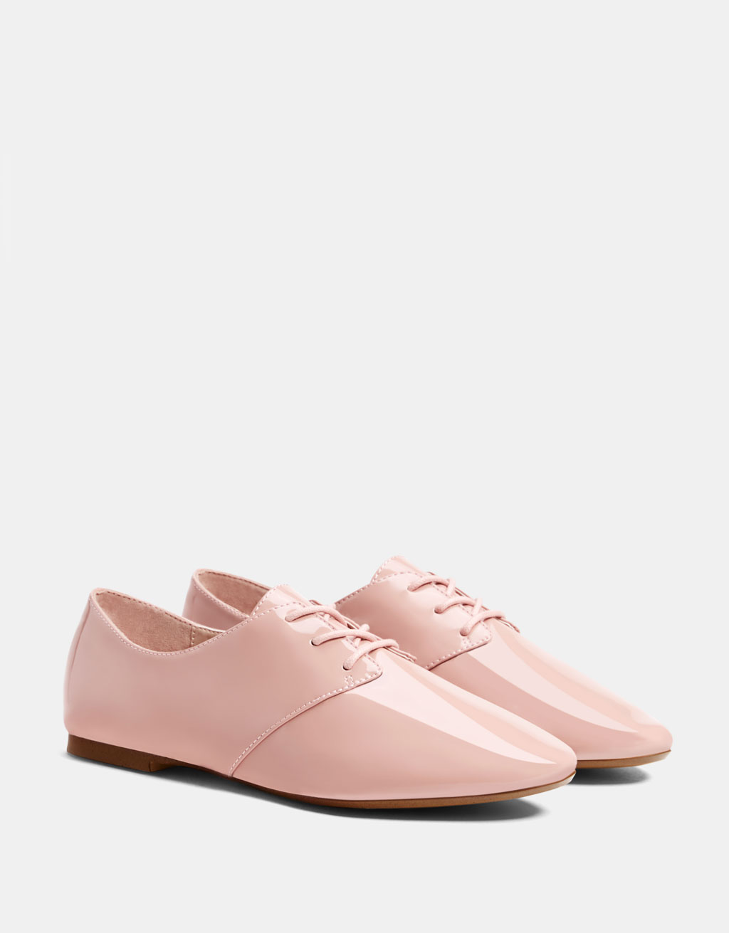 Pink faux patent leather derby shoes